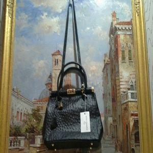 Edmond Louis Ostrich-Embossed Leather Satchel